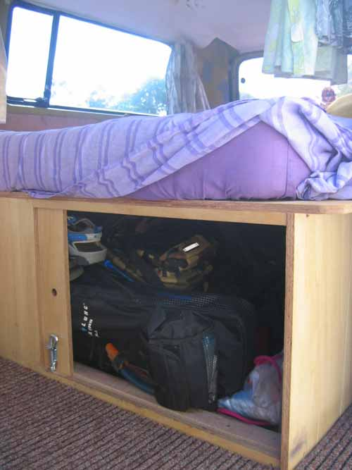 Lockable storage area - we fit 2 suitcases, petrol can, sports bag
